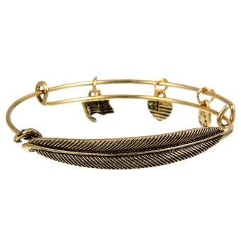 Alex and Ani Plume Feather Bracelet Vintage Style ExpandableBangles Heart Flag and Leaf Charm Bracelets Golden- Intl
