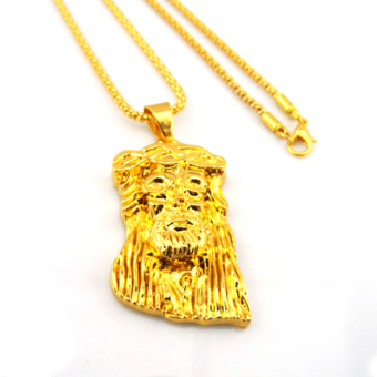 Allwin Fashion Men's Jesus Face Piece Pendant Necklace ChainHip-Hop Jewelry Gift