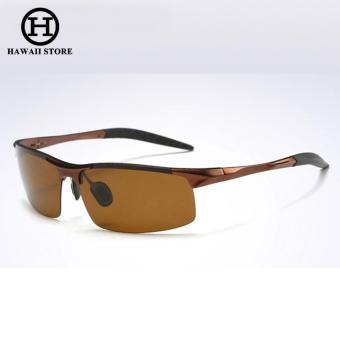Aluminum Magnesium Alloy Polarized Sunglass For Men Outdoor Sport Driving Male Sun Glasses (Brown)