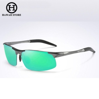 Aluminum Magnesium Alloy Polarized Sunglass For Men Outdoor Sport Driving Male Sun Glasses Rectangle Rimless Shades (Grey Green)