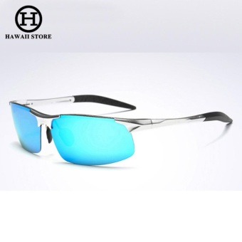 Aluminum Magnesium Alloy Polarized Sunglass For Men Outdoor Sport Driving Male Sun Glasses Rectangle Rimless Shades (Silver Blue)
