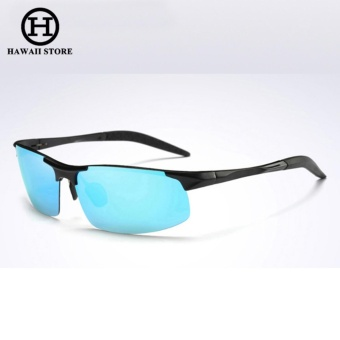 Aluminum Magnesium Alloy Polarized Sunglass For Men Outdoor Sport Driving Male Sun Glasses(Black Blue)