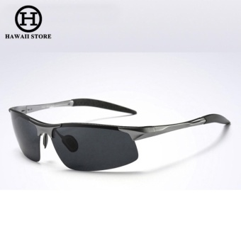 Aluminum Magnesium Alloy Polarized Sunglass For Men Outdoor Sport Driving Male Sun Glasses(Grey Black)