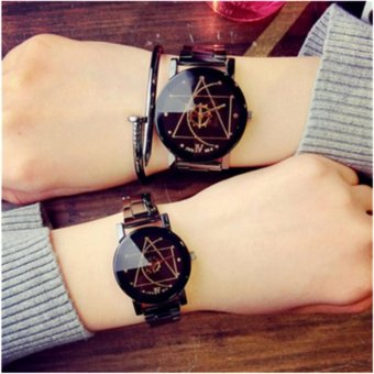 Analog Watch With Stainless Steel Bracelet For Couple-Black(2pcs) - intl