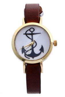 Anchors Faux Leather Band Analog Quartz Brown Womens Watch