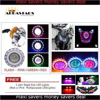 Angel Devil Eyes Dual Halo Motorycle Headlights Projetor Lamp LEDHi / Lo (Flash-Pink/Green/Red) Circle for XRM 125 RS