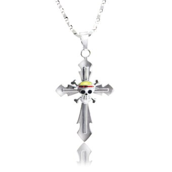 Anime One Piece Straw Hat Pirate Cross Pendant Necklace (Silver)
