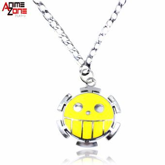 Anime One Piece Trafalgar Law Heart Pirate Logo Fashionable Pendant Necklace (Silver/ Yellow)