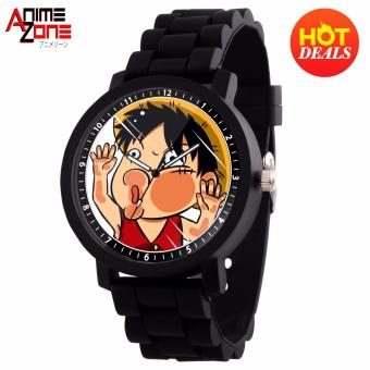 Anime Straw Hat Luffy Chibi One Piece Casual Rubber Strap Watch (Black)