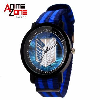 ANIME ZONE Attack On Titan Anime Survey Corps Trendy Nylon StrapAnime Watch (Blue/ Black)
