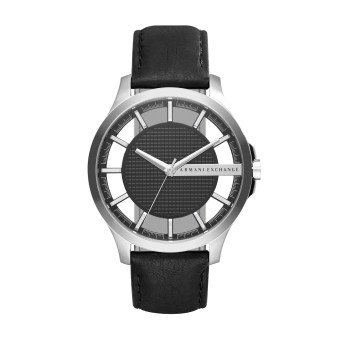 Armani Exchange Smart Men's Black Leather Strap Watch AX2186