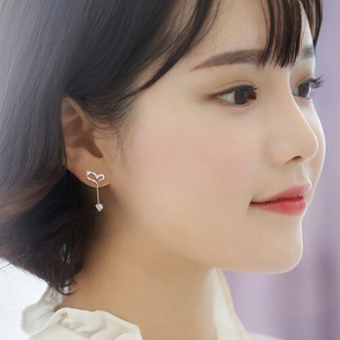 A'ROCH Korean-style female diamond set lovely earrings silver earrings