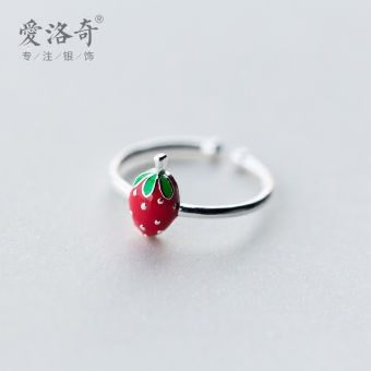 A'ROCH Korean-style female Strawberry ring silver ring