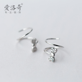 A'ROCH Shishang female diamond set bow earrings silver earrings