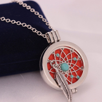 Aromatherapy Essential Oil Feather Turquoise Diffuser LocketNecklace with Pads - intl - 3