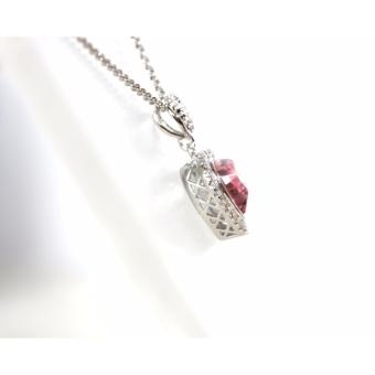 Athena & Co. 14K White Gold Plated Swarovski Crystal Heart Necklace - 3