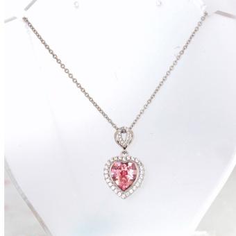 Athena & Co. 14K White Gold Plated Swarovski Crystal Heart Necklace - 2