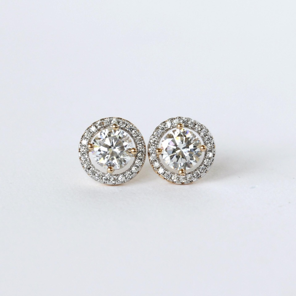 18k Gold Plated Alia Diamond Stud Earrings Two Tone