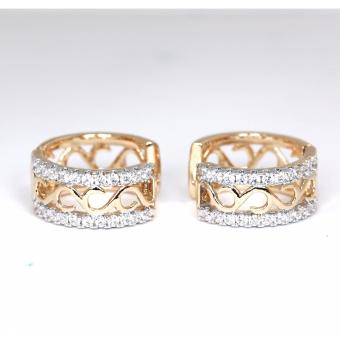 Athena & Co. 18K Gold Plated Two Tone Holly Hoop Earrings