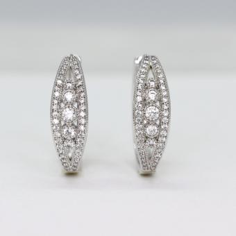 Athena & Co. 18K White Gold Plated Millie Diamond Hoop Earrings
