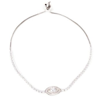 Athena & Co. Evil Eye Toggle Bracelet (Silver)