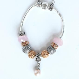 Athena & Co. Pandora Inspired Pink Pearl Charm Bracelet