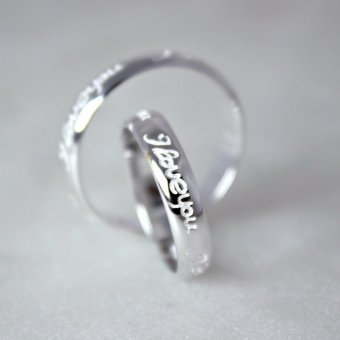 Athena & Co. Premium 925 Silver Couple Rings - I Love You (6/9)