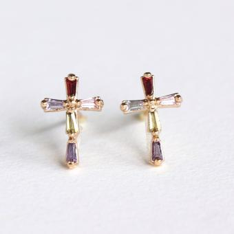 Athena and Co. 22k Gold Plated Multicolor Cross Earrings
