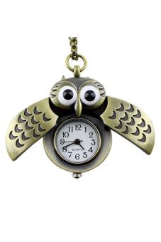 Aukey Owl Pendant Long Necklace Pocket Watch