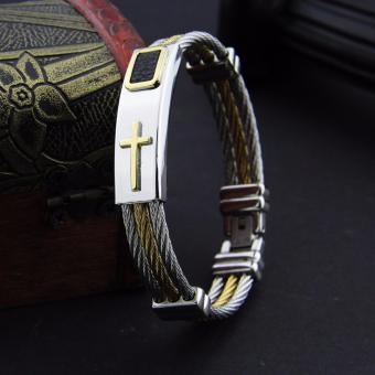 Authentic Classic Cross Stainless Steel Bracelet 18k Gold Plated LARGE (23 cm) - 2
