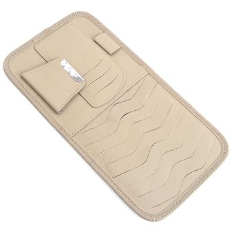 Auto Car Sun Visor Organizer Case Holder CD / DVD Storage Pocket(Cream) - intl