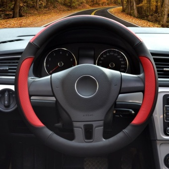 Auto Steering Wheel Covers,Diameter 15 inch,PU Leather,for Full Seasons,black and red-Size M-intl