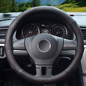 Auto Steering Wheel Covers,Diameter 15 inch,PU Leather,for Full Seasons,black-Size M-intl