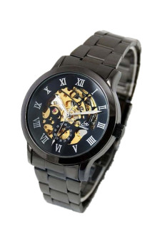Automatic Mechanical Stainless Steel Sport Watch Black