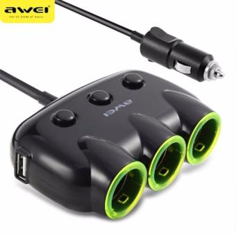 Awei C-3S 3 Socket Cigarette Car Lighter Power Adapter And 2 USB Interface - BLACK