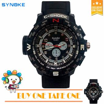 B1T1SYNOKE C801 Fashion Men Black Silicone Strap Sport Quartz Wrist Watch BUY ONE TAKE ONE Price Philippines