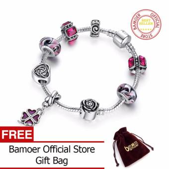 BAMOER 925 Silver Four Leaf Clover Charm 20CM Bracelet with Purple Beads for Women Fashion Jewelry PA1436