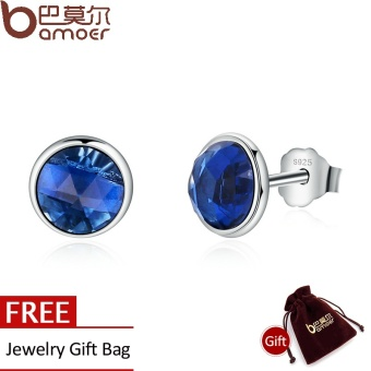 BAMOER Genuine 925 Sterling Silver September Birthstone DropletsBlue Crystal Stud Earrings For Women Fashion Jewelry PAS501 - intl