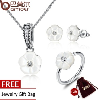 BAMOER Genuine 925 Sterling Silver White Flower Luminous Florals,Mother-Of-Pearl Jewelry Sets Sterling Silver Jewelry ZHS014 - intl