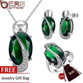 BAMOER Luxury Elegant Platinum Plated Green Oval Cutting BigEmerald Jewelry Sets for Women Engagement Jewelry Ring set ZH158(Intl) Price Philippines