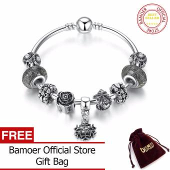 BAMOER Vintage Silver Color Snowflake Pendant & High QualityBlack Murano Beads Bracelets & Bangles for Women Jewelry PA3089- intl