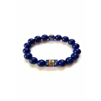 Be Lucky Charms Feng Shui Blue Onyx with Protection Mantra Bracelet (Blue Onyx)