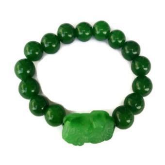 Be Lucky Charms Feng Shui Green Agate Money Catcher Pi Yao Bracelet - 2