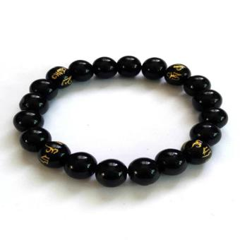 Be Lucky Charms Feng Shui Onyx with Protection Mantra Bracelet