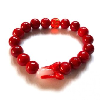 Be Lucky Charms Feng Shui Pak Choy with Protection Mantra Red Coral Bracelet