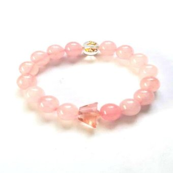 Be Lucky Charms Feng Shui Rose Quartz Mantra with Money Ingot Bracelet