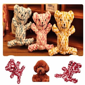 Bear Shape Pet Dog Puppy Knotted Dental Floss Tough Cotton RopeChew Play Toy Price Philippines