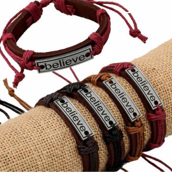 BELIEVE Fashion Handmade Bracelet Leather and Stainless Steel Alloy Bangles for Men and Women, Charm Jewelry Religious Items