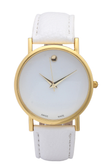 Best Selling Items In Fashion Jewelry Classic Casual Watch PULeather Watch Quartz Watch for Women(White and Gold)