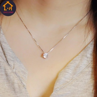 Better One G-20-012 Silver Clavicle Chain Zircon Pendant Necklace (Silver)